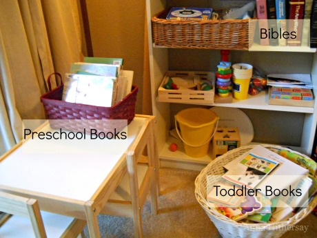 Book Baskets Labeled